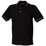 Tipped collar and cuff polo with stand up collar