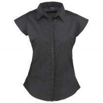 Women's cap sleeve poplin blouse