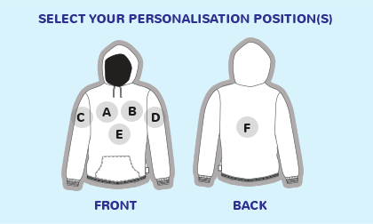 Logo position guide for hoodies and sweatshirts