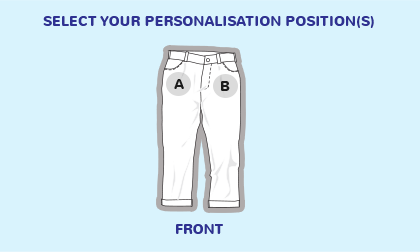 Logo position guide for trousers